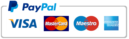 PayPal accepts Visa, MasterCard, Maestro, and Amex